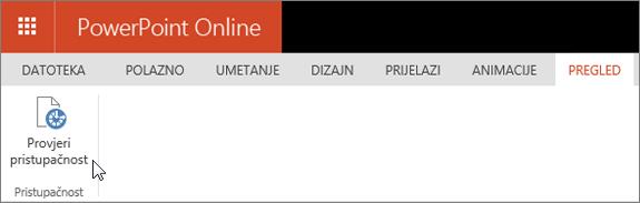 Snimka zaslona prikazuje kartica Pregled s pokazivačem koji pokazuje na mogućnost Provjera pristupačnosti.