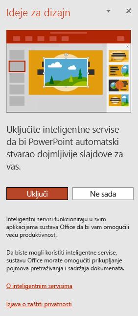 Prikazuje početnu poruku koja se prikazuje prilikom otvaranja komponente PowerPoint Designer