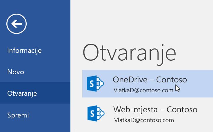 Snimka zaslona Datoteka > Otvori u programu Word.