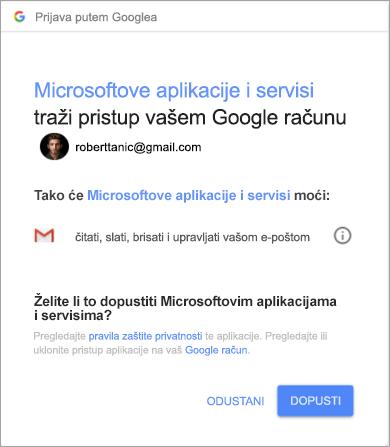 Prikaz prozora s dozvolama za Outlook radi pristupa Gmail računu