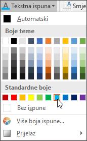 Odabir boje tekstne ispune