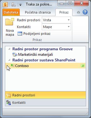Radni prostor sustava SharePoint na traci za pokretanje