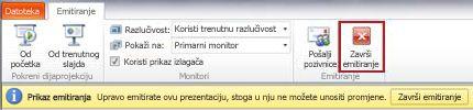 Kartica Emitiranje prikazuje se prilikom emitiranja dijaprojekcije u programu PowerPoint 2010.