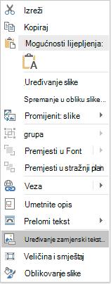 Izbornik za uređivanje teksta u programu Word Win32 za slike