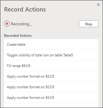 Kada zabilježe skriptu sustava Office, prikazat će vam se opis onoga što svaki korak radi.