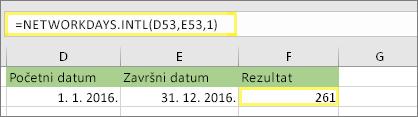 = NETWORKDAYS. INTL (D53; E53; 1) i rezultat: 261