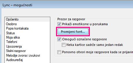 """Snimka zaslona s odjeljkom prozora Općenite mogućnosti programa Lync i odabranim gumbom Promijeni font"""""""