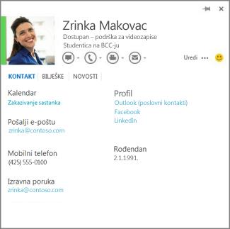 Primjer kartice kontakta, koju možete otvoriti klikom na fotografiju osobe koja je poslala komentar u programu Word.