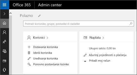 Prikazuje centar za administratore sustava Office 365.