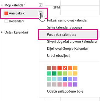 postavke Google kalendara