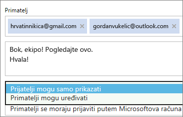 Odabir mogućnosti samo za pregledavanje i prijavu potrebna u pozivnicu e-pošte