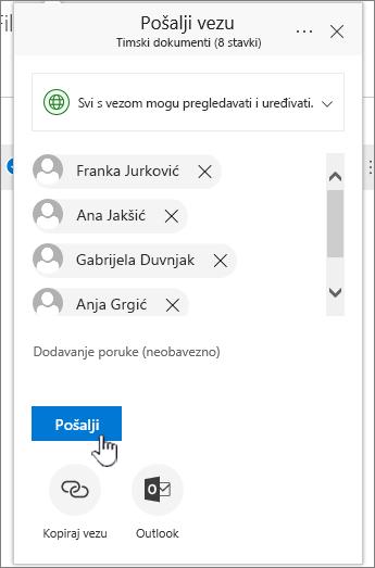 Zajedničko korištenje veze, prikazuje popis imena
