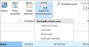Padajući popis kalendara koje je moguće zajednički koristiti