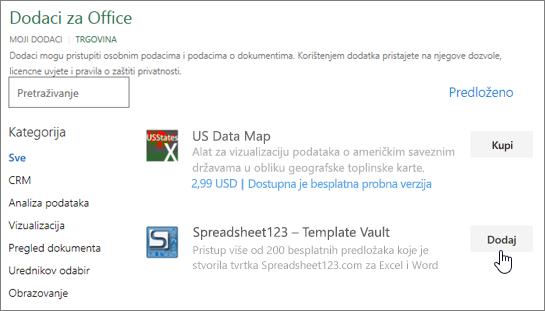 Snimka zaslona prikazuje dodaci za Office stranica na kojem možete odabrati ili traženje programski dodatak za Excel.