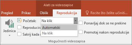 Prikazuje mogućnosti videozapisa u programu PowerPoint