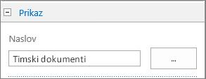 Promjena naslova zadane biblioteke dokumenata u Timski dokumenti