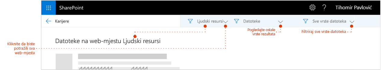 Snimka zaslona rezultata pretraživanja stranice, zumirana na vrh rezultate pri čemu je povratna Pokaži rezultate potjecati iz web-mjesta. Pokazivači s filtrima.