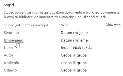 Odaberite stupac sekciju stupca s prikazom postavke biblioteke odabranih.