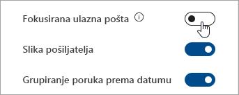 Snimka zaslona s prikazom uključivanja/isključivanja Fokusirane ulazne pošte u Brzim postavkama