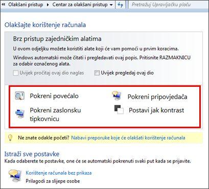 Dijaloški okvir Centra za olakšani pristup sustava Windows u kojem možete odabrati pomoćne tehnologije
