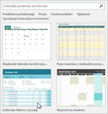Predlošci programa Excel