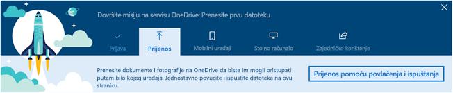 snimka zaslona upute s vodičem vodiča OneDrive pojavit će se prilikom prvog korištenja servisa OneDrive za tvrtke u sustavu Office 365