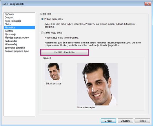 Snimka zaslona s prozorom mogućnosti slike i istaknutom stavkom Uredi ili promijeni sliku