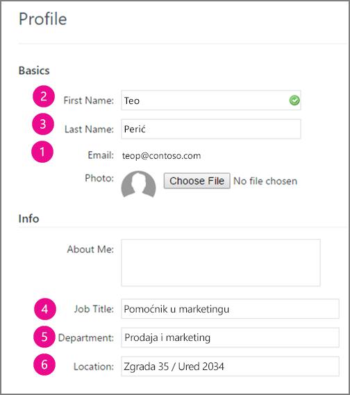 Snimka zaslona polja profila koji se sinkroniziraju na servisu Yammer