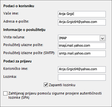 Unesite informacije o poslužitelju za Yahoo