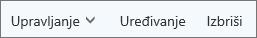 Na traci naredbi servisa Outlook.com upravljajte kontaktima ili ih uređujte i brišite
