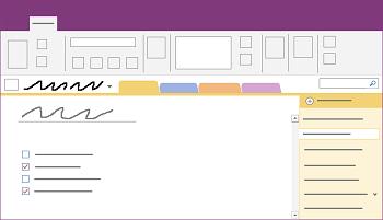 Prikazuje prozor radne površine programa OneNote za Windows