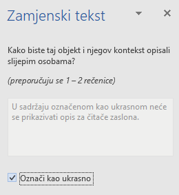 Word (Win32) – okno za zamjenski tekst za ukrasne elemente