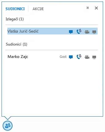 snimka zaslona ikona uz sudionikovo ime koje upućuju na dostupnost mogućnosti razmjene izravnih poruka, zvuka, videoprikaza i zajedničkog korištenja