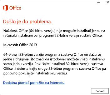 Poruka o pogrešci Nije moguće instalirati 32-bitnu verziju sustava Office preko 64-bitne verzije sustava Office
