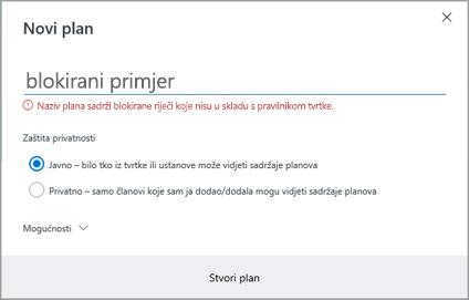 Snimka zaslona: Grupiranje pravila imenovanja – da biste stvorili novu tarifu blokirane primjer