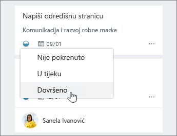 Kliknite ikonu tijeku i promjenu statusa
