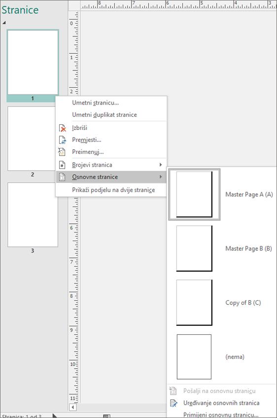 Snimke zaslona prikazuje mogućnost izbornika prečaca odabrali za osnovne stranice s dostupne mogućnosti osnovnu stranicu.