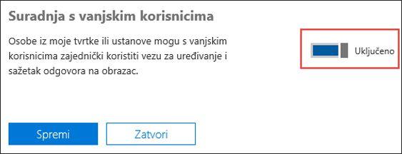 Microsoft Forms postavka za suradnju
