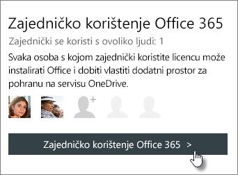 """Snimka zaslona odjeljka """"Zajedničko korištenje sustava Office 365"""" na stranici moj račun koji prikazuje pretplata se zajednički koristi s osobom 1."""