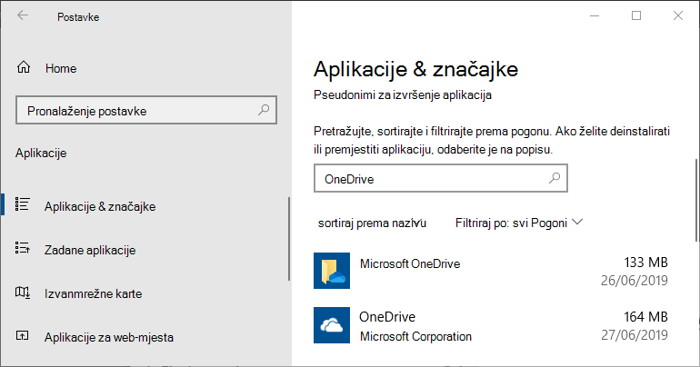 OneDrive u postavkama programa Windows