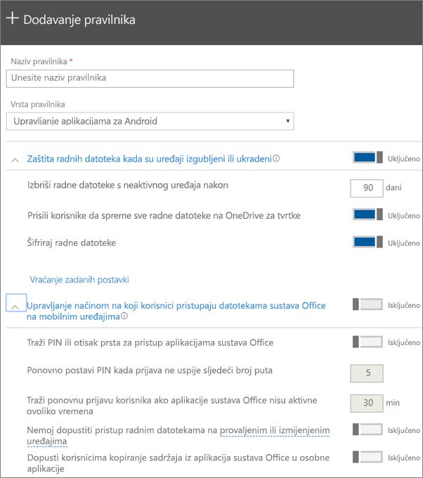 Snimka zaslona stvaranja pravilnika uz odabranu mogućnost Upravljanje aplikacijama za Android