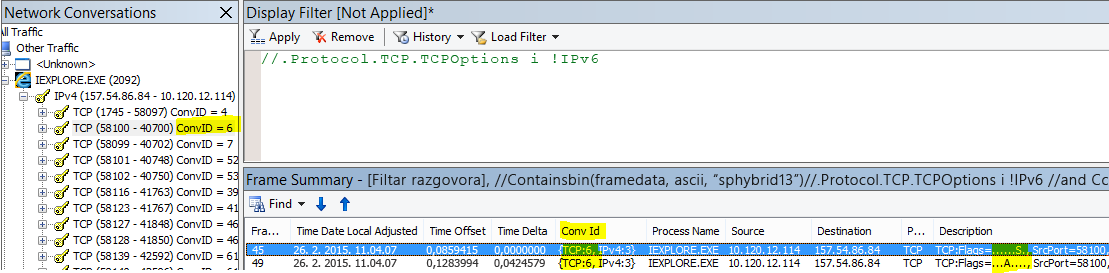 Filtriranje prema razgovoru. Desnom tipkom miša kliknite okvir SYN, a zatim kliknite Pronađi razgovore, TCP.