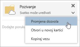 Snimka zaslona s izbornikom Više radnji