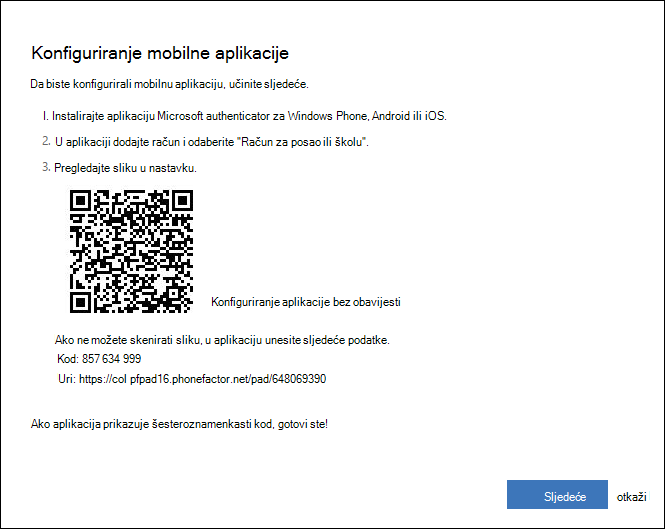 Zaslon koji sadrži QR kod