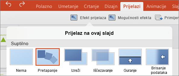 Prikazuje prijelaz Izobličenje na izborniku prijelaza u aplikaciji PowerPoint 2016 za iPad