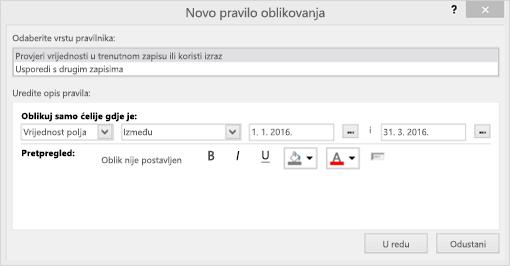 Snimka zaslona sa sučeljem novo pravilo oblikovanja
