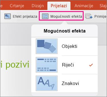Prikazuje mogućnosti efekta za prijelaz Izobličenje u aplikaciji PowerPoint 2016 za iPad