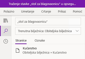 Traženje tekstnog izraza u aplikaciji OneNote za Windows 10