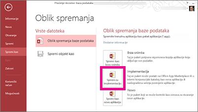 mogućnost spremi radi implementacije na stranici spremanje u obliku