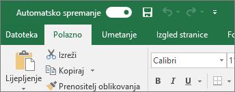 Naslovna traka u programu Excel na kojoj se prikazuje uključivanje i isključivanje automatskog spremanja